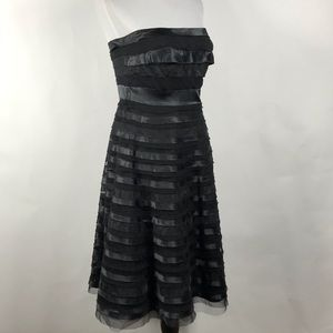 WHBM Women's Black Strapless Tiered Cocktail Dress